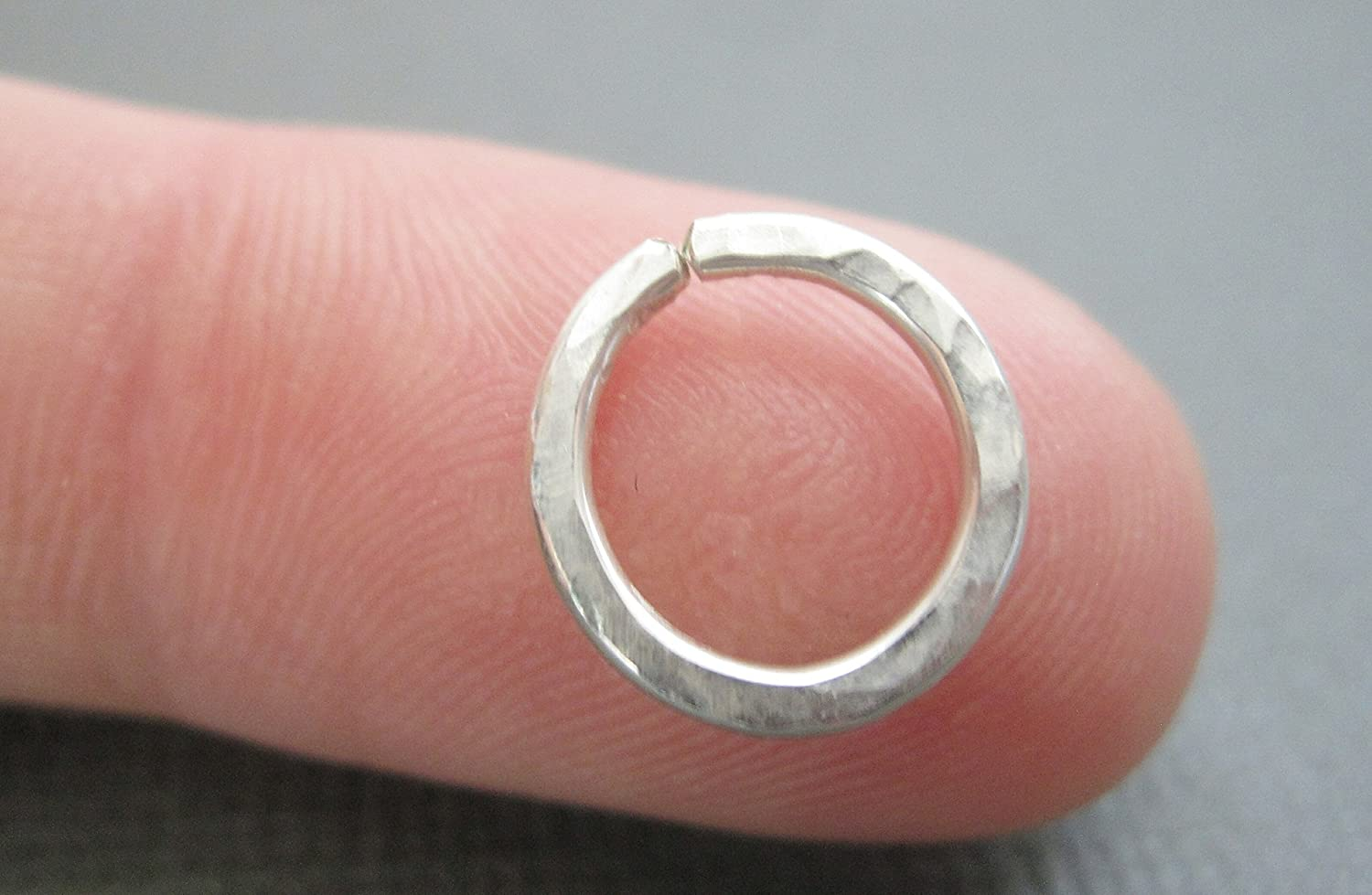 Amazon.com: Hammered Nose Ring, Silver Septum Ring, Gold Septum Ring ...