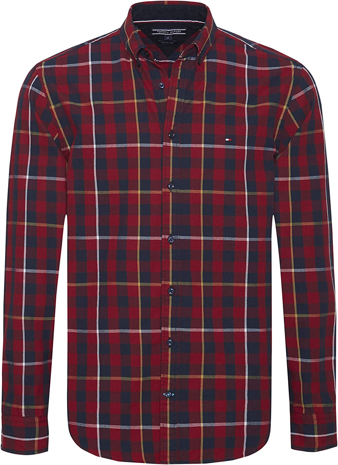 Tommy Hilfiger Men's Gingham with A Twist Shirt, Red