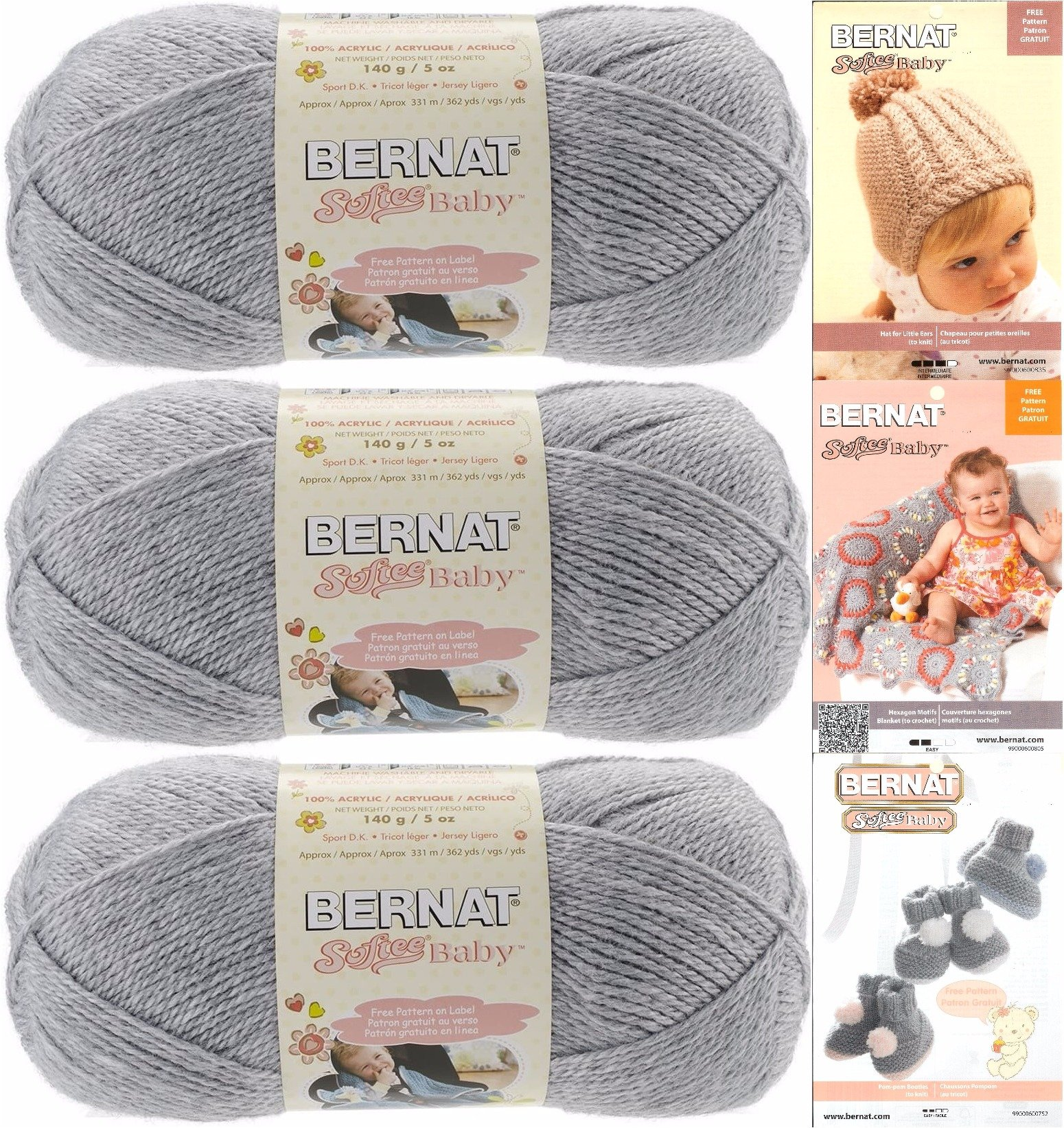 Softee Baby Yarn Bundle, Includes 3 Patterns, Light Worsted (Flannel ...
