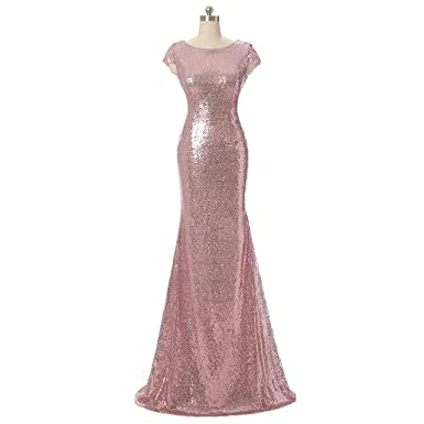 Aiyana Pink Mermaid V Neck Backless Long Bridesmaid Dresses Sequins Wedding Party Gown
