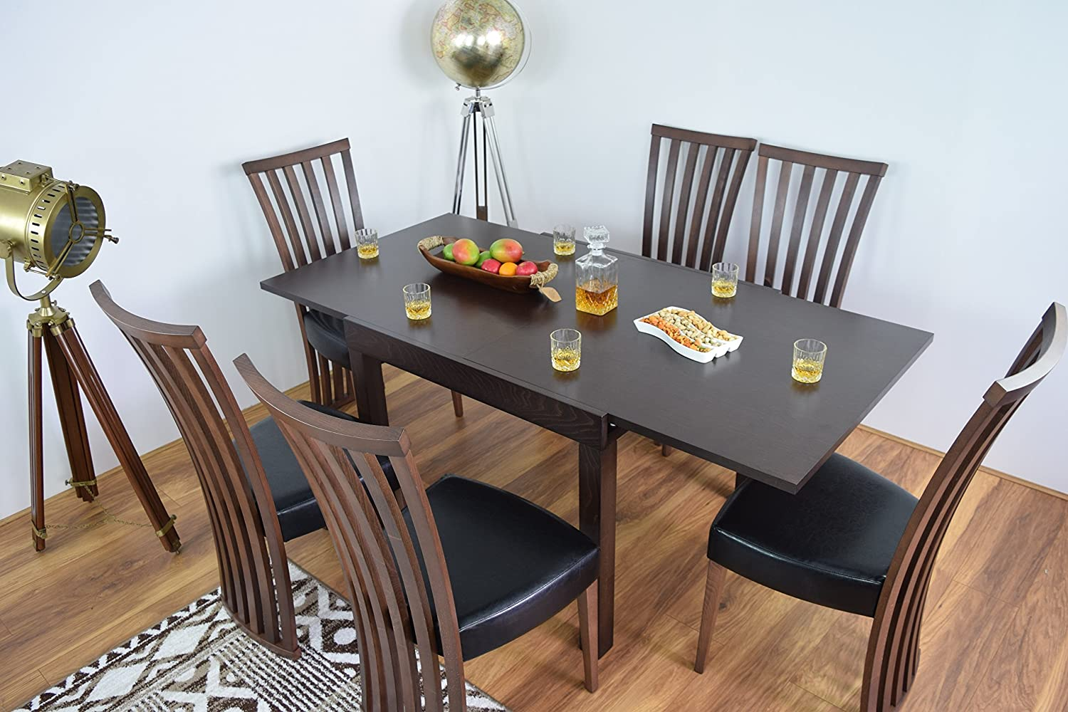Extending Dining Table And 9 Chairs Set Solid Wood Kitchen ...
