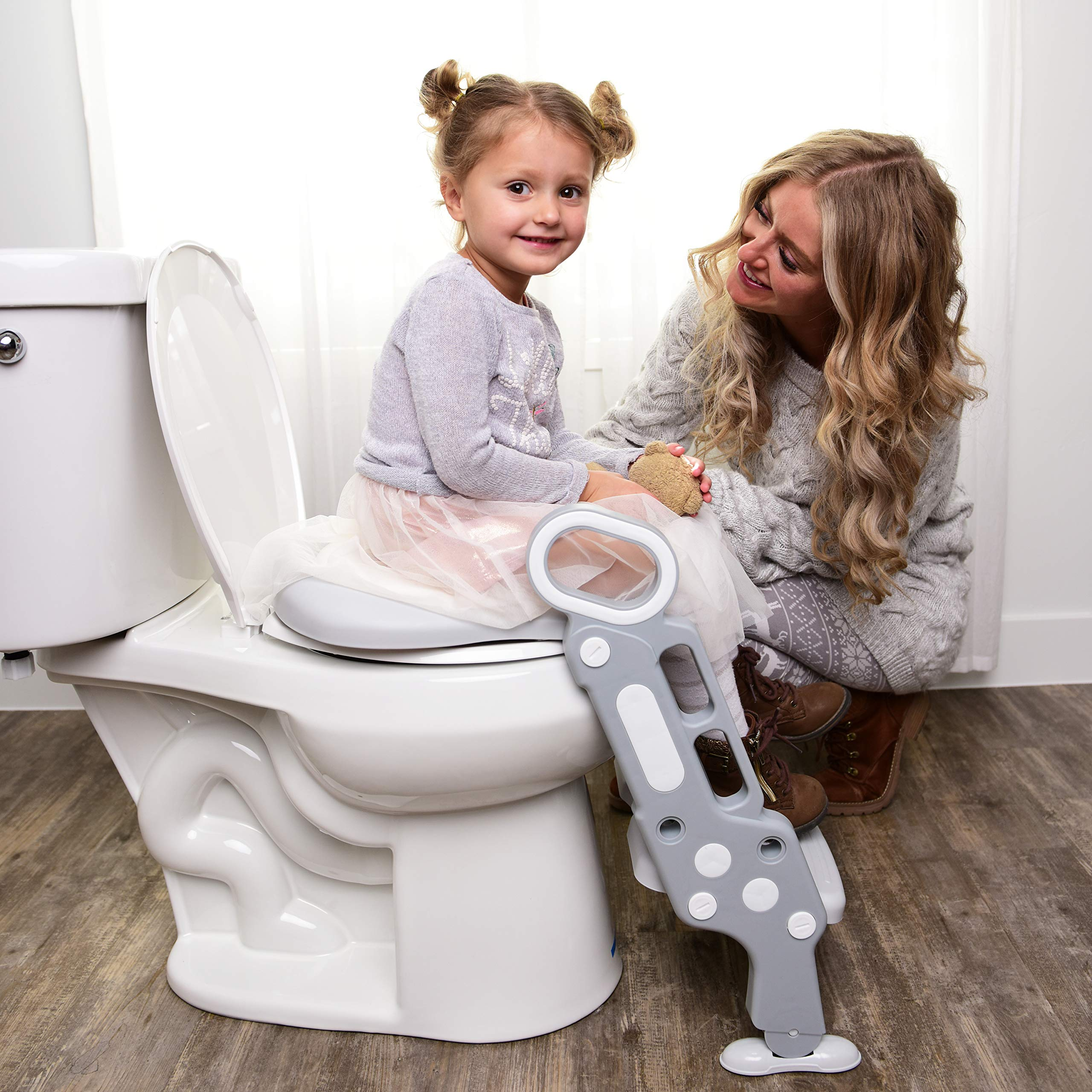 Potty Toilet Training Seat -Adjustable Ladder Baby Bathroom Training Chair Cover For Toilet With Step Stool & Handles-Foldable Kids Potty Trainer Seat For Boys & Girls- Easy Assembly & Discreet Design