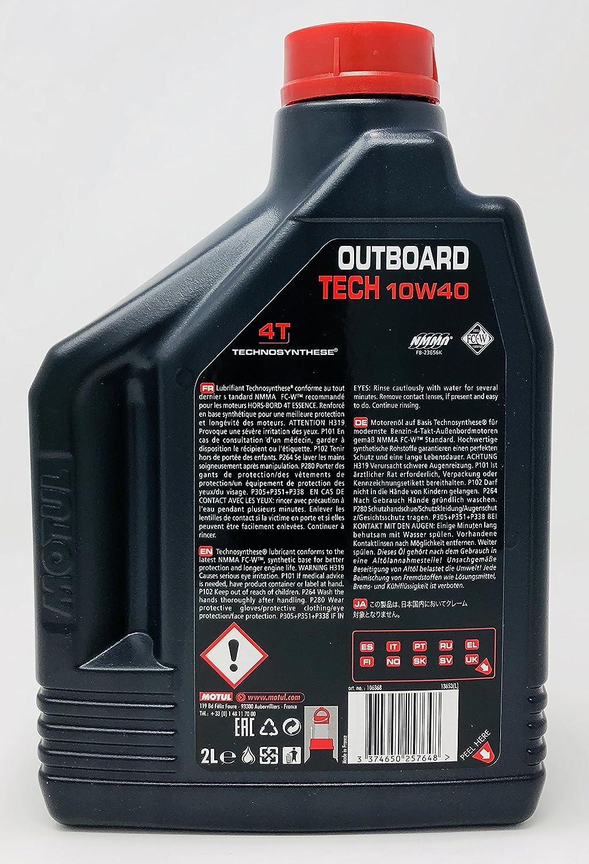 Aceite Lubricante Motores Marinos Nautica Fueraborda - Motul Outboard Tech 4T 10W-40, 6 Litros (3x2 Lt): Amazon.es: Coche y moto