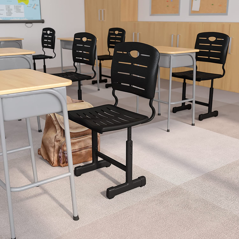 Flash Furniture Adjustable Height Black Student Chair with Black Pedestal Frame: Furniture & Decor