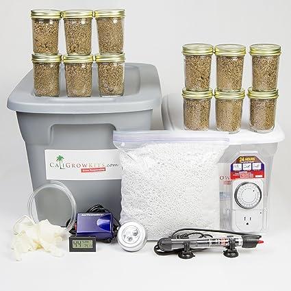 Amazon com : Deluxe Mushroom Grow Kit + 12 Premium Grow Jars