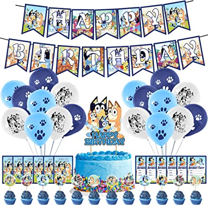 Cake Topper 12 Cupcake Toppers Bluey birthday party supplies,Bluey and Bingo Theme Birthday Party Decorations,Birthday Party Supplies For Bluey Includes Banner 12 Invitations 18 Balloons