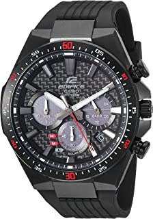 Casio Mens Edifice Stainless Steel Quartz Watch with Resin Strap, Black, 25 (Model