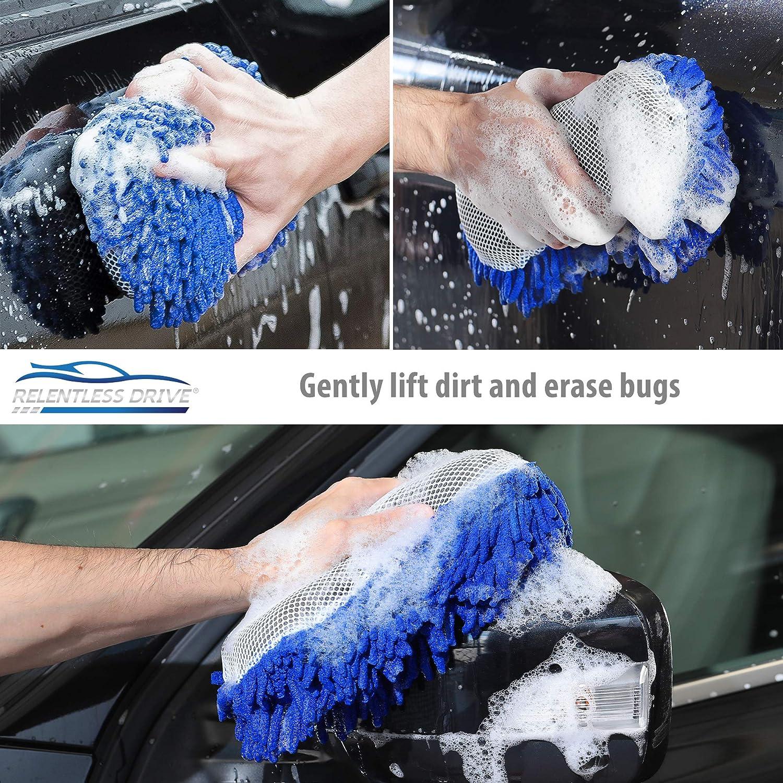 Relentless Drive Ultimate Microfiber Car Wash Sponge - Premium Chenille Microfiber - Lint Free - Scratch Free - Ultra Soft Automobile Cleaning Sponge - 1 Pack: Automotive