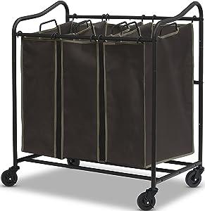 Simple Houseware Heavy Duty 3-Bag Laundry Sorter Rolling Cart, Brown
