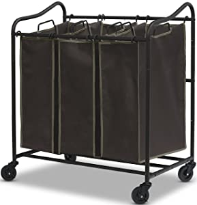 Simple Houseware Heavy Duty 3-Bag Laundry Sorter Rolling Cart, Brown