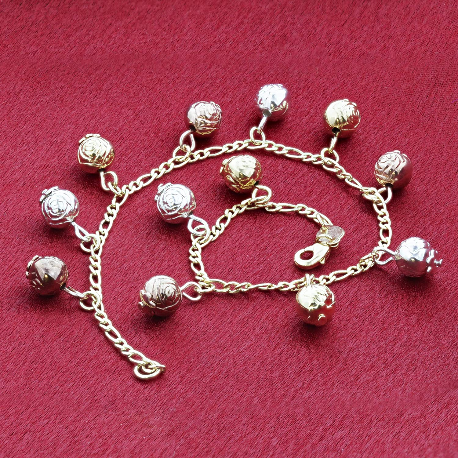 Three Tone Dangling Ornate Balls 8.5 Inch Foot Chain 18k Gold Overlay Anklet Ankle Bracelets