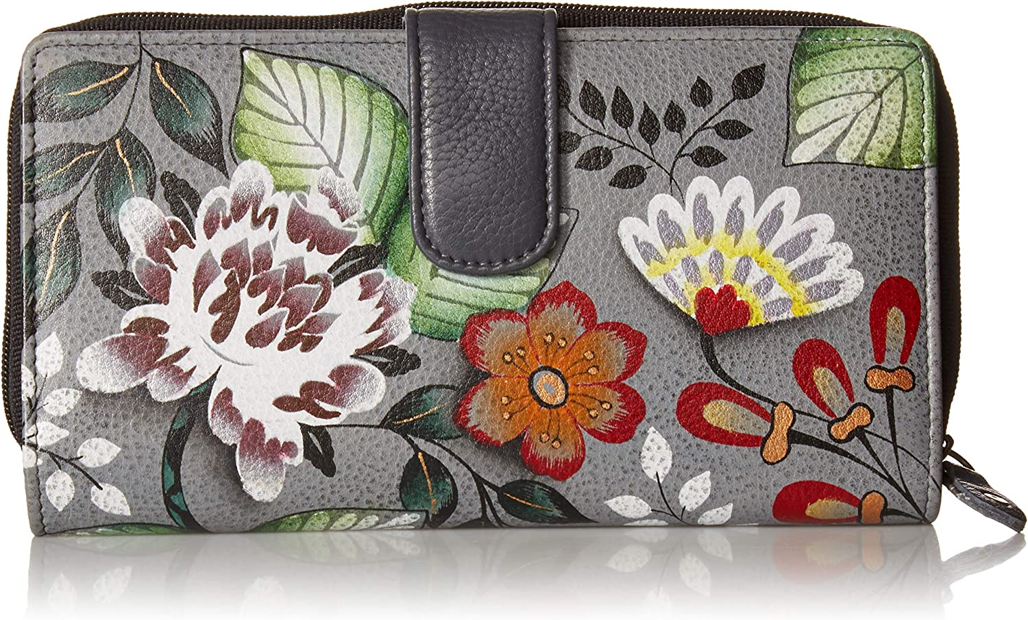 Anna by Anuschka Hand Painted Leather Women's Two Fold Clutch Wallet