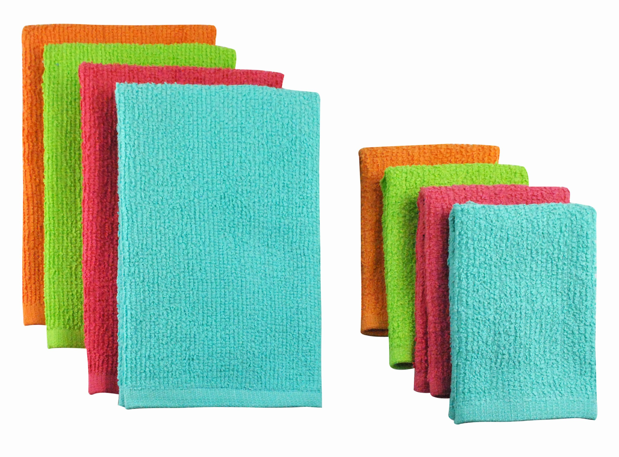DII COS31272 Cotton Bar Mop Cleaning Set, Machine Washable, Absorbent, Everyday Kitchen Basic and Lint-Free, 16x24/12x12, Bright