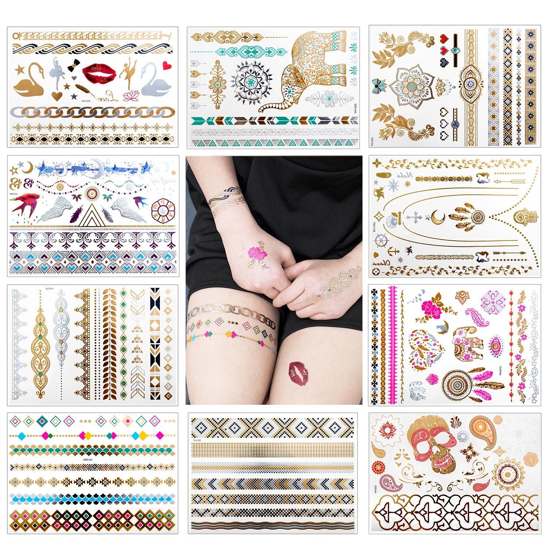 Tatuaggi temporanei, ZeWoo 10 Pack Non tossico impermeabile oltre 100 tipi imitate-metallico tatuaggi temporanei adesivi tatoo finti removibili per bambini adulti donna uomo