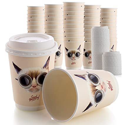 3525f6626ec Double Wall 50 Disposable Coffee Cups with Leak Proof Lids Set, 12OZ  Hot/Cold