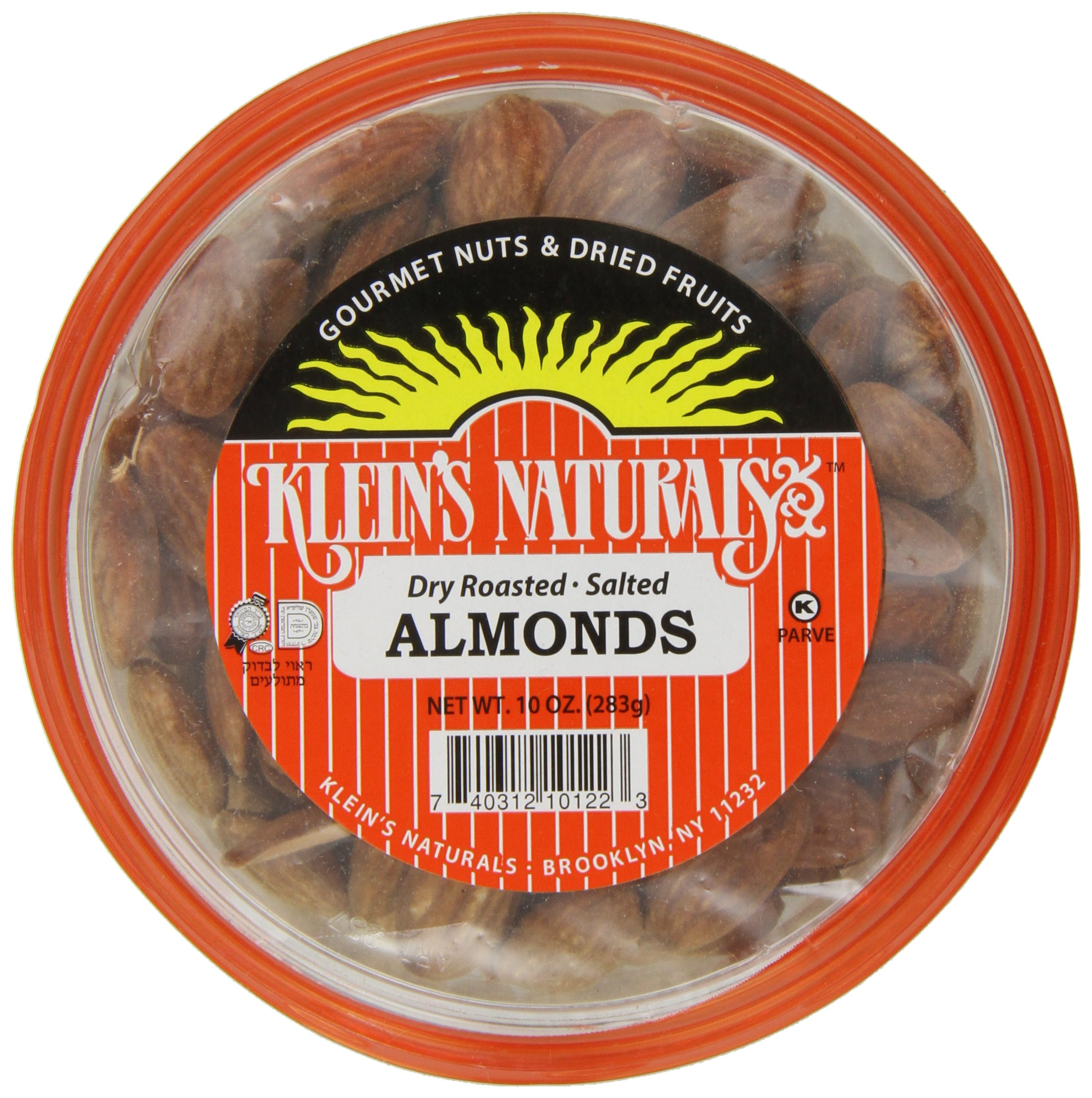 Klein's Naturals Almonds, Dry, Roasted, Salted, Shelled, 10 oz (Pack of 6)