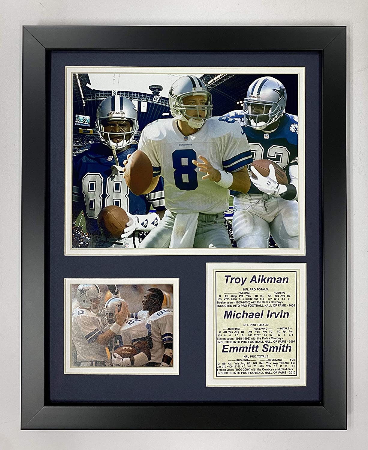 """Dallas Cowboys 11"""" x 14"""" Framed Photo Collage by Legends Never Die, Inc. - Aikman-Irvin-Smith"""