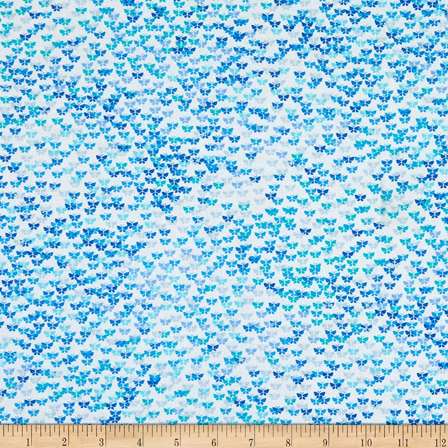 Kanvas Social Butterfly Confetti Butterfly White Quilt Fabric (0665059)