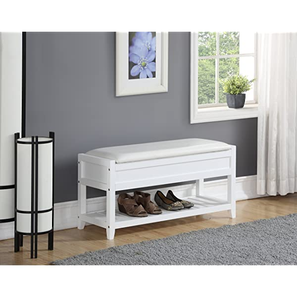 Roundhill Furniture 3431WH Rouen Clean White Seating Bench with Shoe Storage
