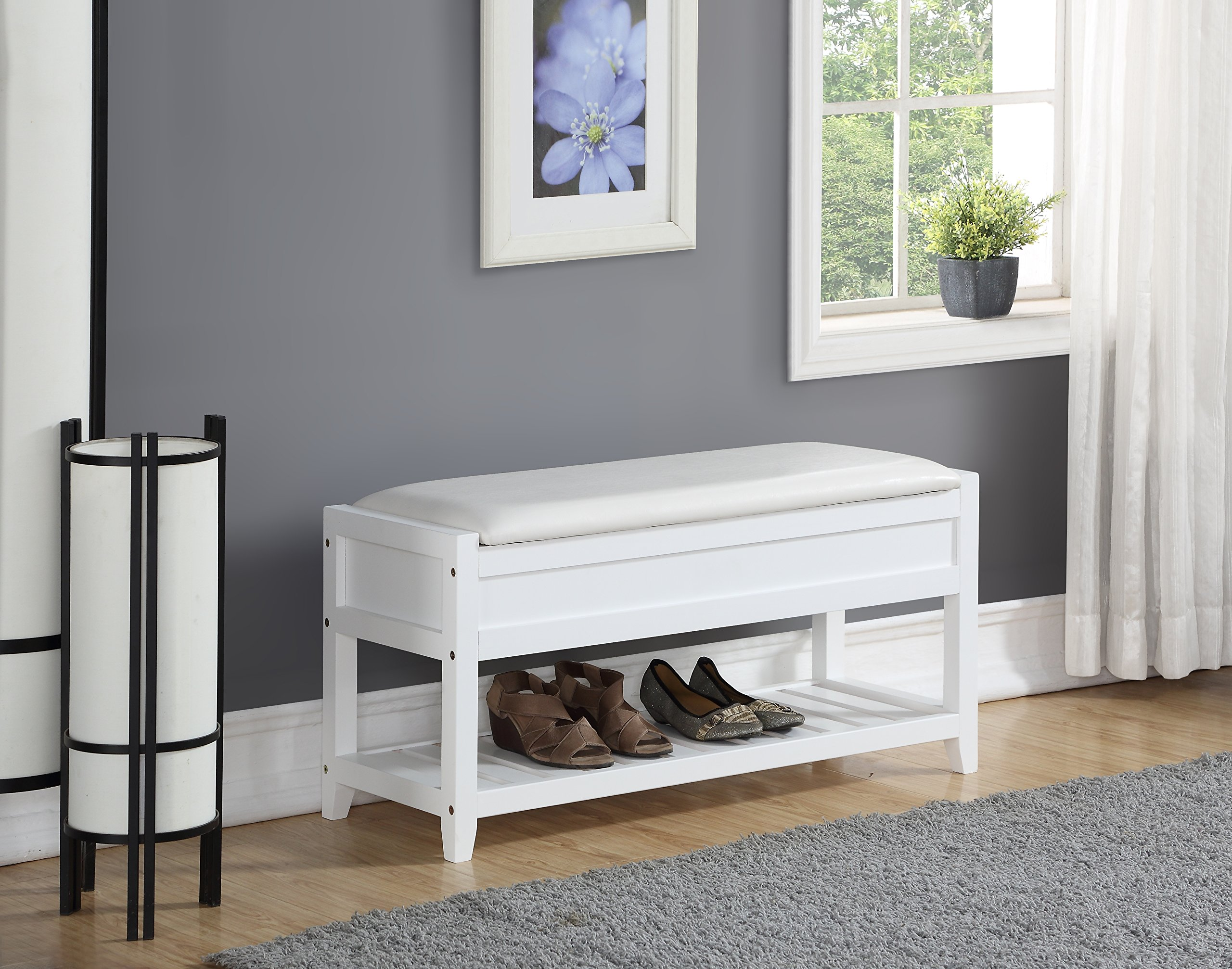 Roundhill Furniture 3431WH Rouen Clean Seating Bench with Shoe Storage, White