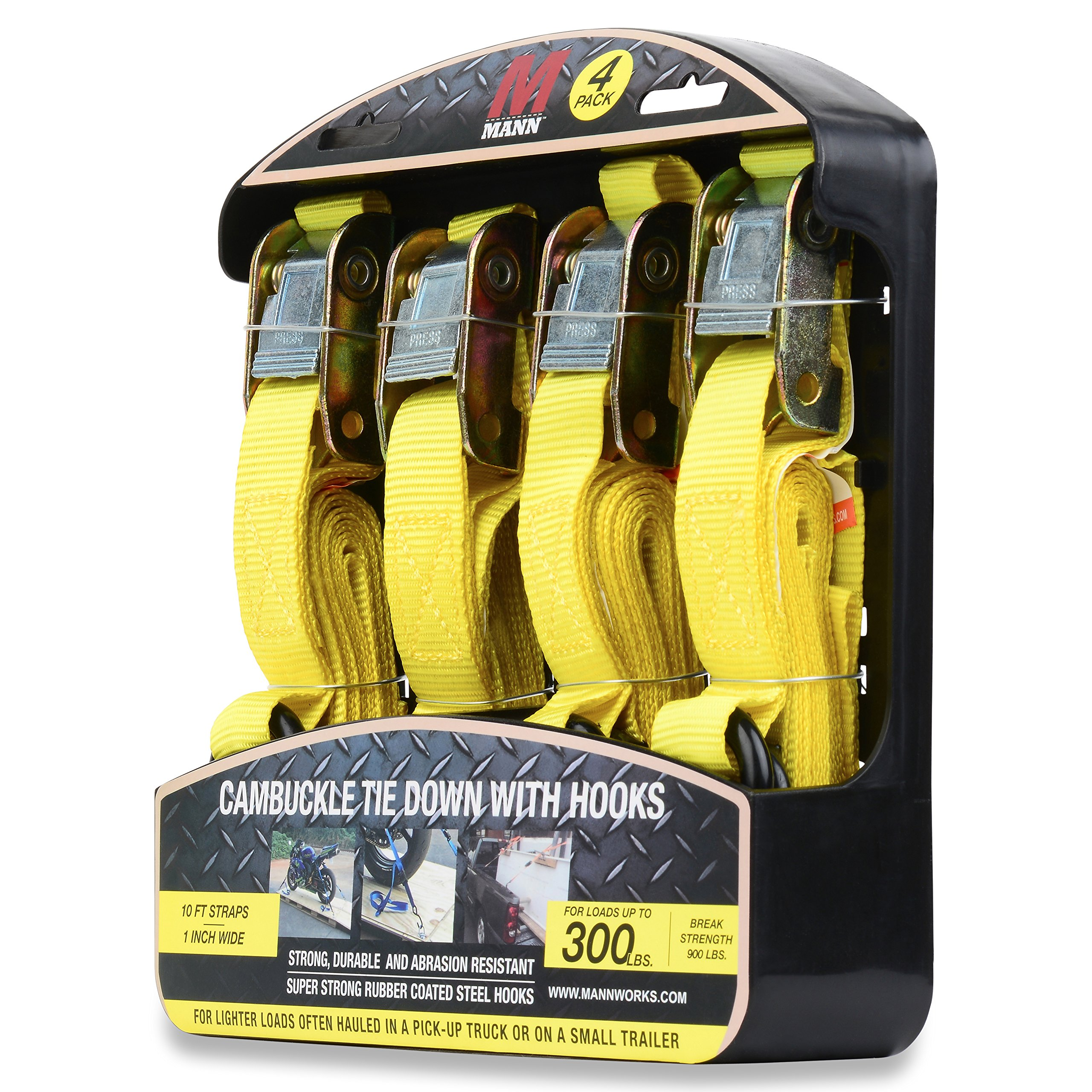 Mann Cambuckle Tie Down Straps with S-hooks 4-Pack Set 1''x10' 300lb Load Capacity 900lb Break Strength (Yellow) by Mann (Image #2)