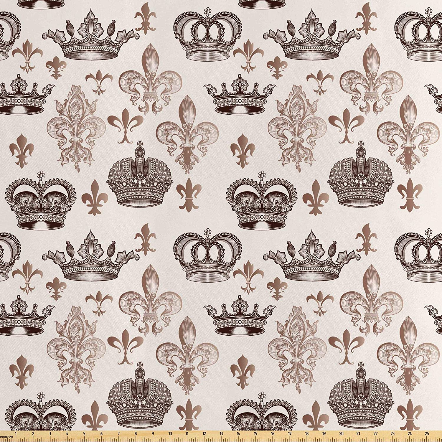 Lunarable Fleur De Lis Fabric by The Yard, Crowns and Fleur-de-Lis Shapes in Engraved Style Fame Symbolic Artwork Print, Decorative Satin Fabric for Home Textiles and Crafts, 1 Yard, Beige Tan