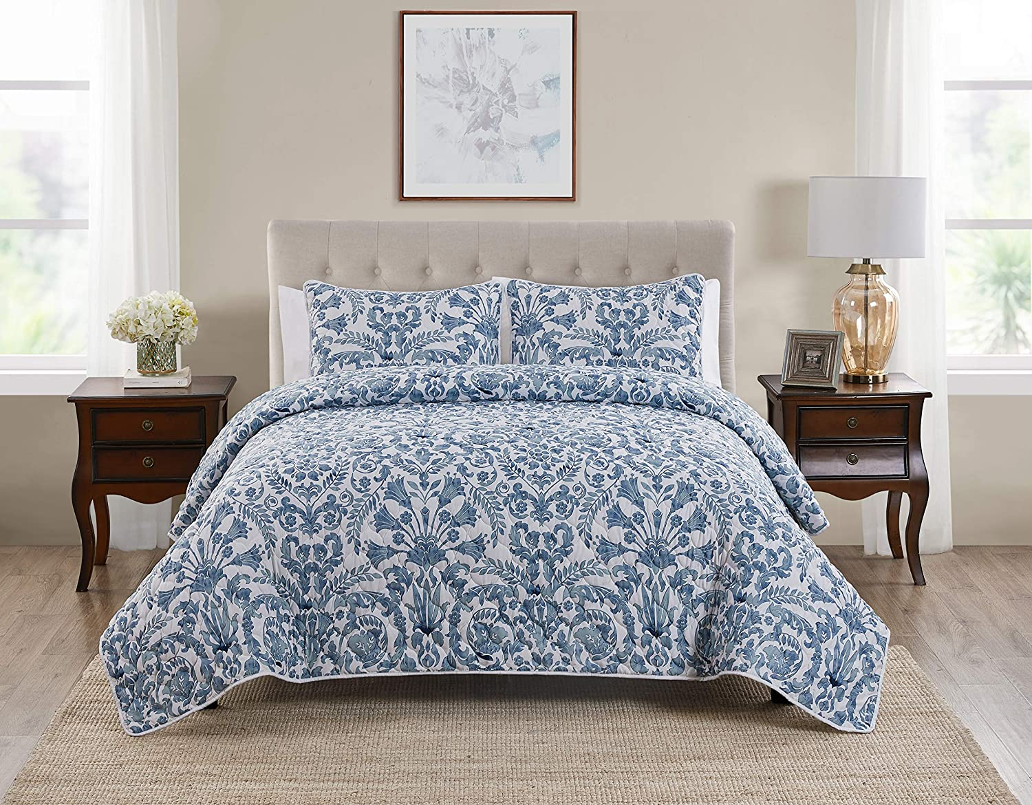 Tahari Home   Montreau Bedding Collection   Luxury Premium Ultra Soft Quilt Coverlet, Lightweight Comfortable 3 Piece Set, Floral Print Designed for Home Hotel Décor, King, Blue