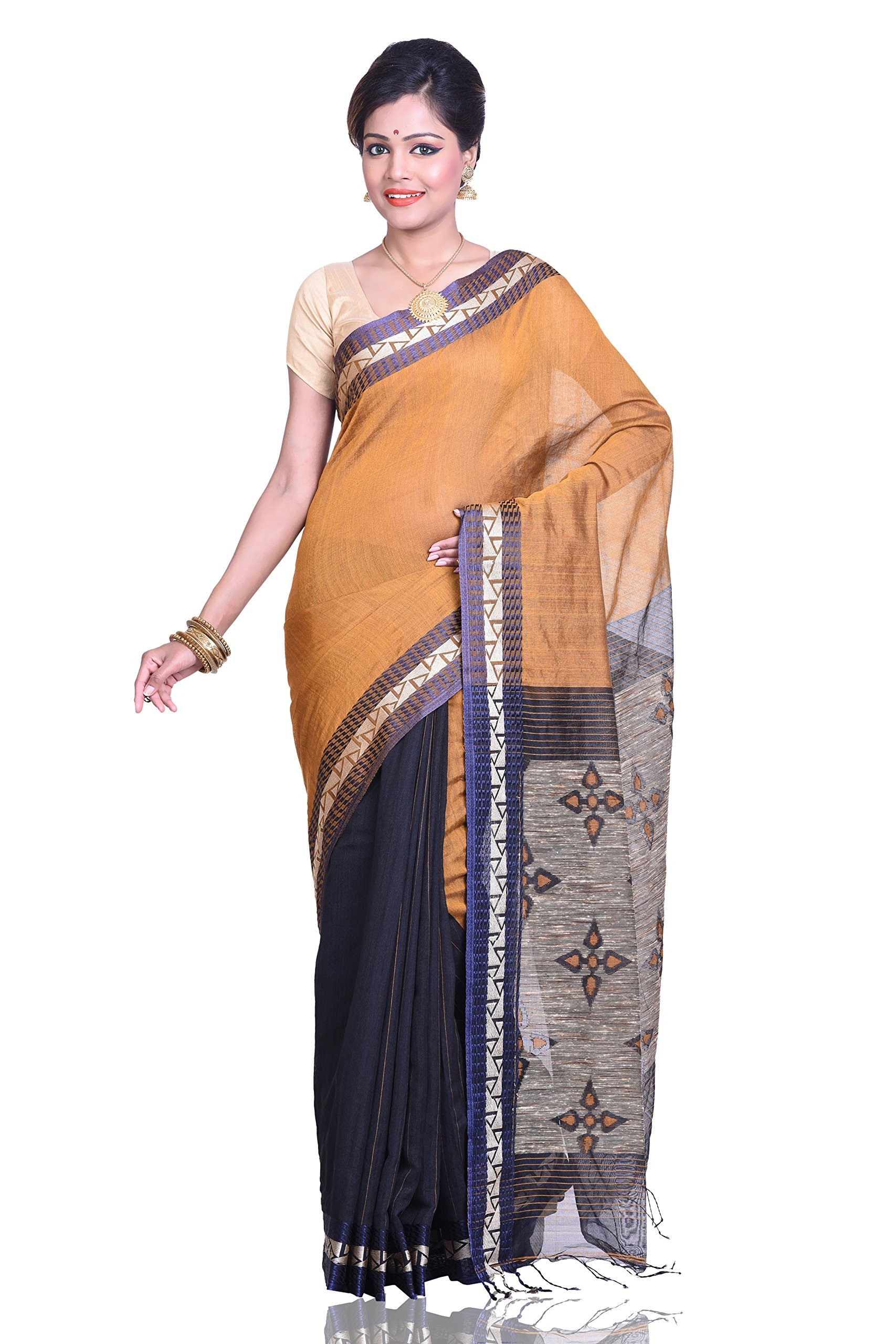 Bengal Handloom Saree Women's Cotton With Blouse Piece Free Size Gold