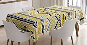 Ambesonne Yellow and Black Tablecloth, Prehistoric Design with Zig Zag Lines Stripes Chevron, Rectangular Table Cover for Dining Room Kitchen Decor, 60
