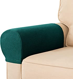 CHUN YI Set of 2 Stretch Sofa Armrest Covers Armchair Slipcovers, Anti-Stain Anti-Slip Washable Furniture Protector for Chairs and Sofas with Free Pins(2pcs, Dark Green)