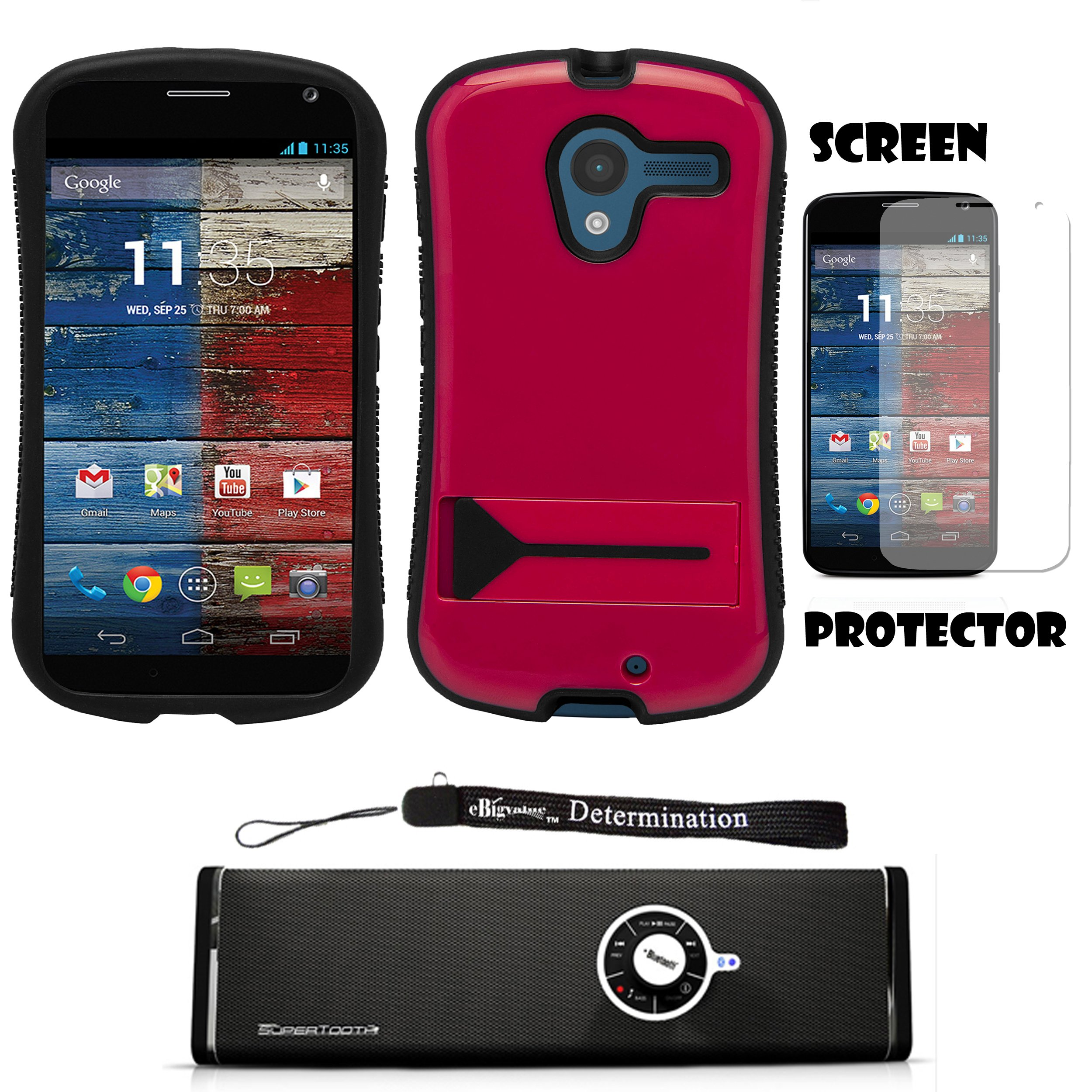 Magenta Hybrid Tough Protective Shield Cover Case with Kick Stand For Motorola Moto X Android OS V4 2.2 (Jelly Bean) + Motorola Moto X Clear Screen Protector + Supertooth Disco Bluetooth Speaker with AUX Cable + an eBigValue Determination Hand Strap