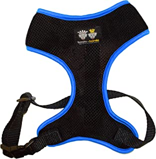product image for BESSIE AND BARNIE Air Comfort Harness for Pets, Black/Ocean Blocks/Turquoise