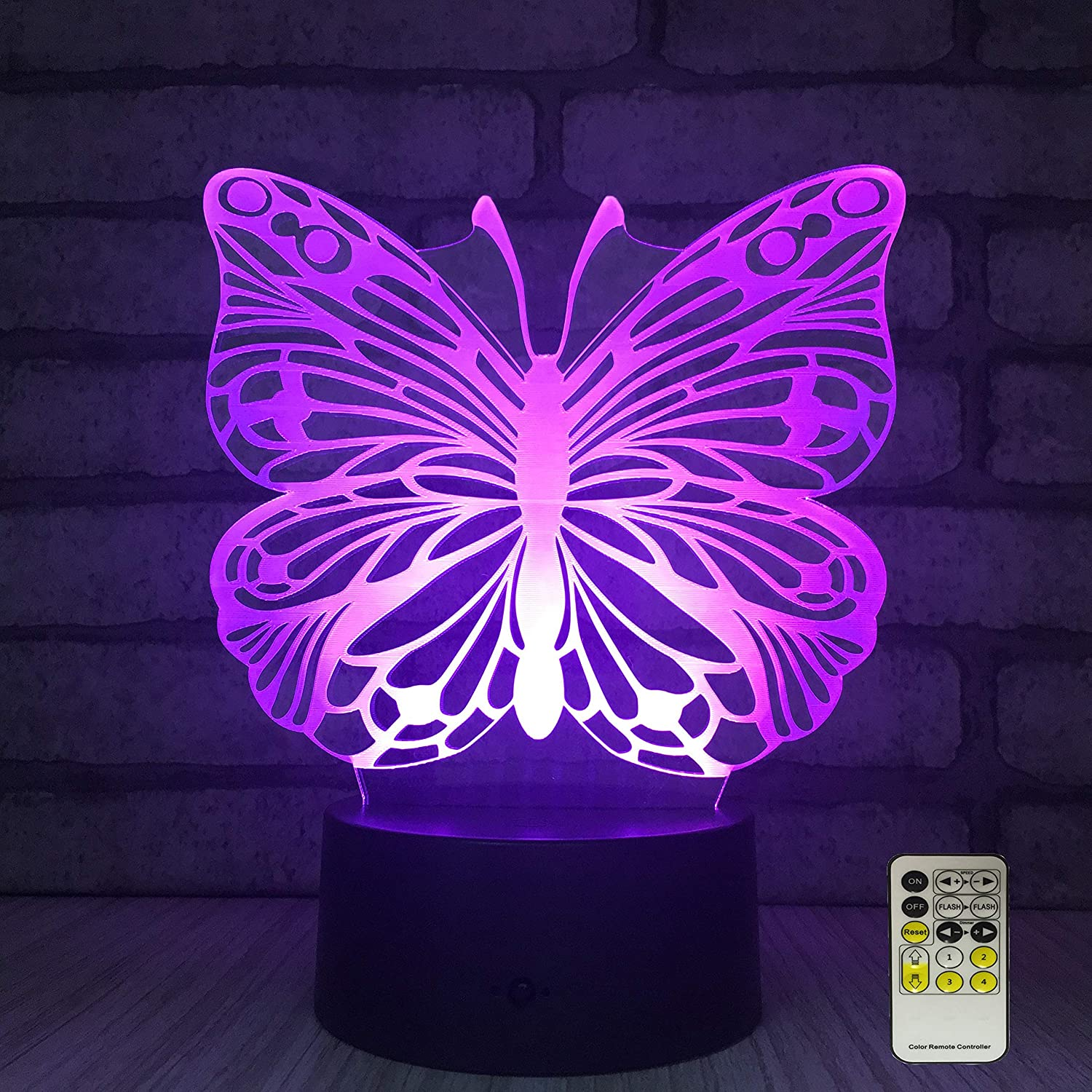 INSONJOHY Kids Night Lights Bedside Lamp 7 Colors Change Remote Control Timer 3D Night Light Kids Optical Illusion Lamps Kids Lamp As a Gift Ideas Girls Wife Women(Butterfly)