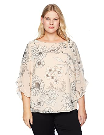 59f3bc5637f Calvin Klein Women s Plus Size Printed Chiffon Blouse with Ruffle Sleeve at  Amazon Women s Clothing store