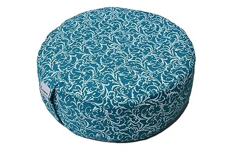 Tvamm-Lifestyle Redondo 7 Chakra – Cojín de meditación (Zafu) Alforfón, diámetro 36 cm x 15 cm, Funda y Relleno 100% algodón, Funda Lavable a máquina ...