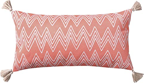 Levtex home – Teide – Decorative Pillow 12 X 24in. – Embroidered Chevron – Coral and White