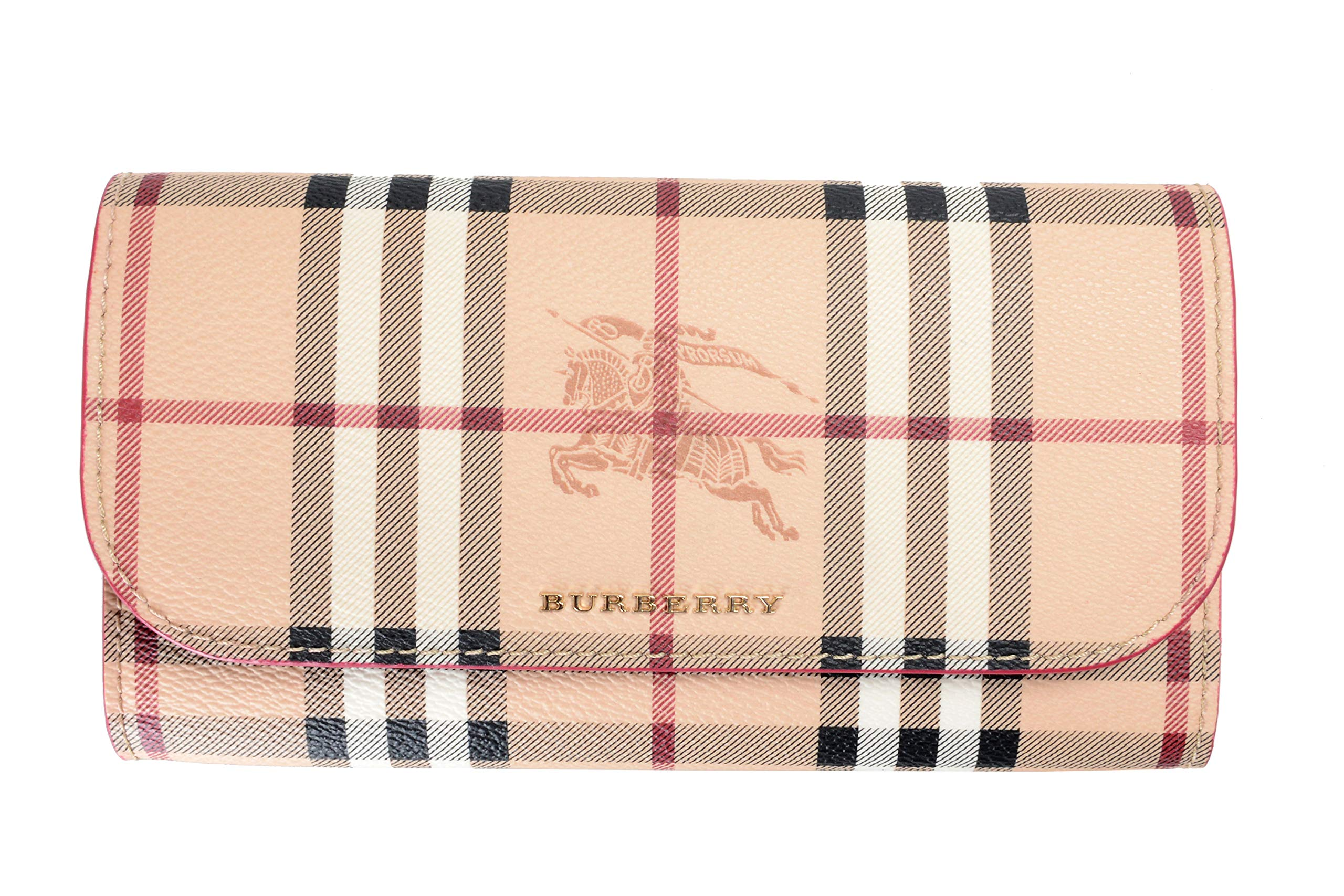 Burberry 100% Leather Multi-Color Checkered Women's Clutch Wallet