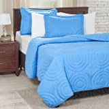 Lavish Home 66-41-T-B Solid Embossed 2 Piece Quilt Set, Twin, Blue