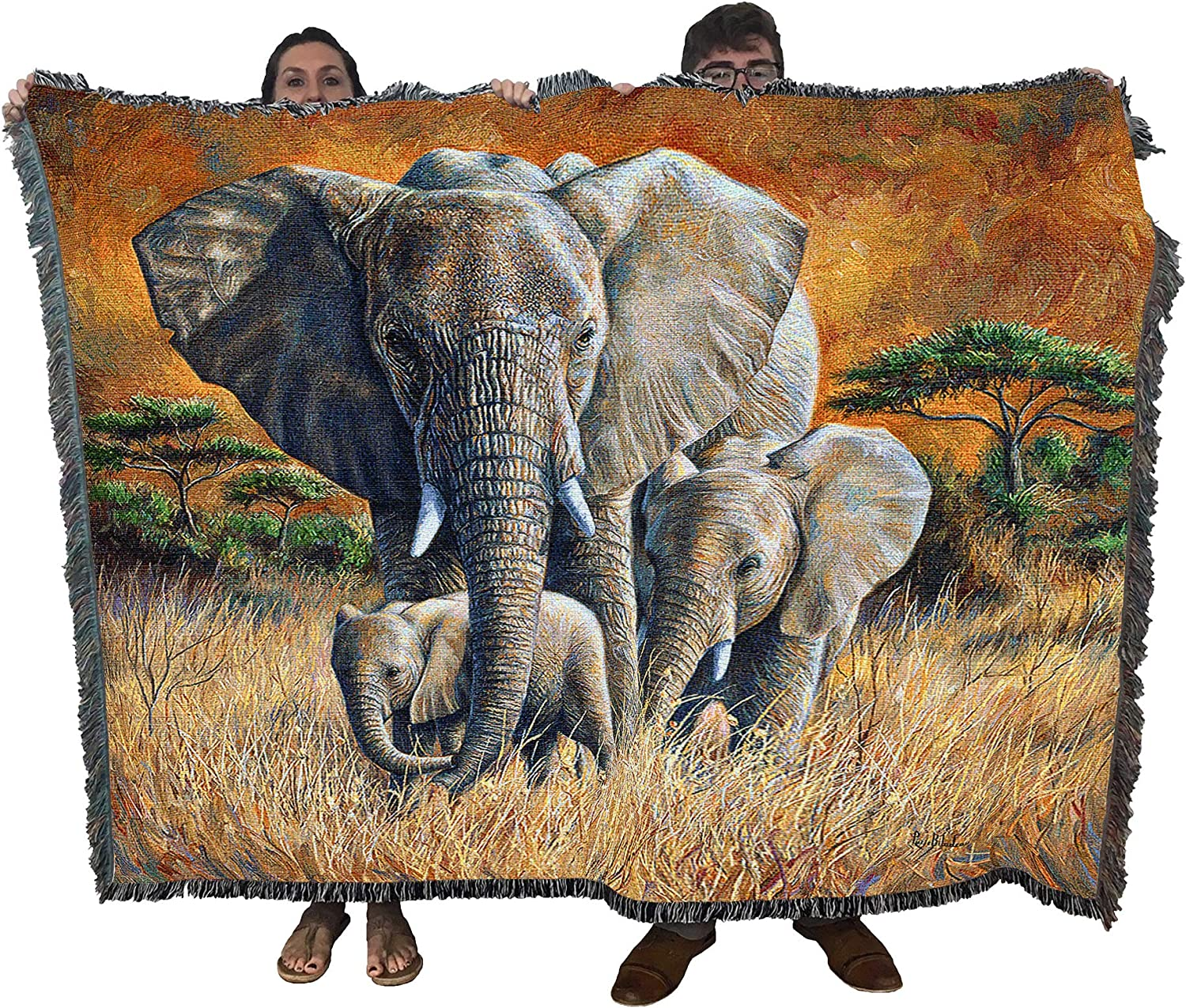 Amazon Com Loving Mother Elephant And Calf Lucie Bilodeau Blanket Throw Woven From Cotton Made In The Usa 72x54 Kitchen Dining