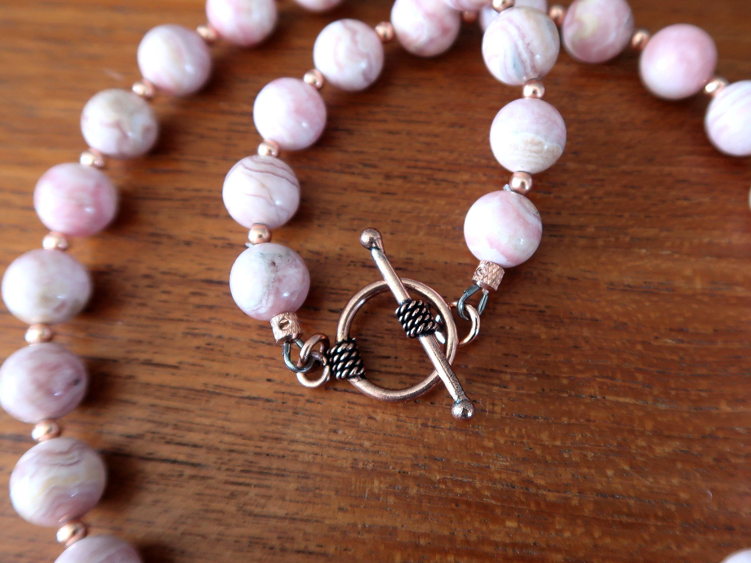 Satin Crystals Rhodochrosite Necklace Boutique Deluxe Pink Genuine Gemstone Round Beaded Copper B01 (17) by SatinCrystals (Image #6)