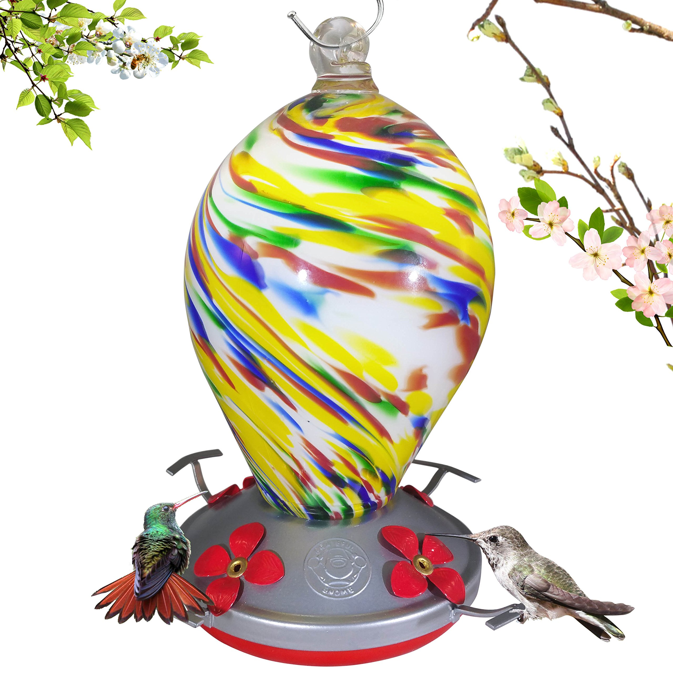 Grateful Gnome Hummingbird Feeder - Hand Blown Glass - Bubblegum Swirl - 28 Fluid Ounces