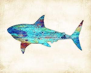 Great White Shark Watercolor Art Print by Dan Morris