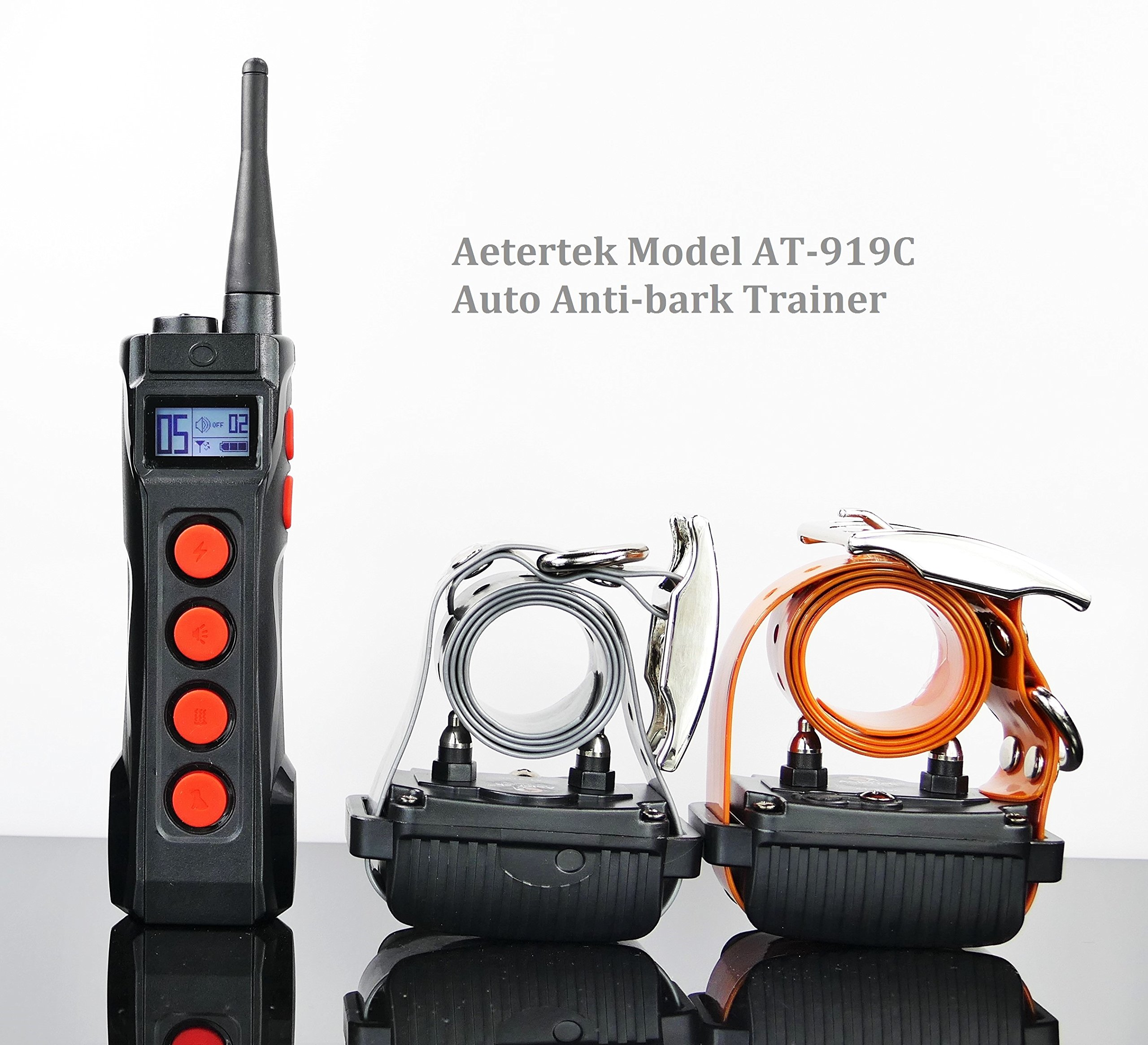 Aetertek 1000 Meter Remote Dog Training Trainer Rechargeable Waterproof Collar w/Safe and Humane Tone,Vibration,10 Levels of Adjustable Static Stimulation,Auto Anti Bark (Two Dog Set) by Aetertek