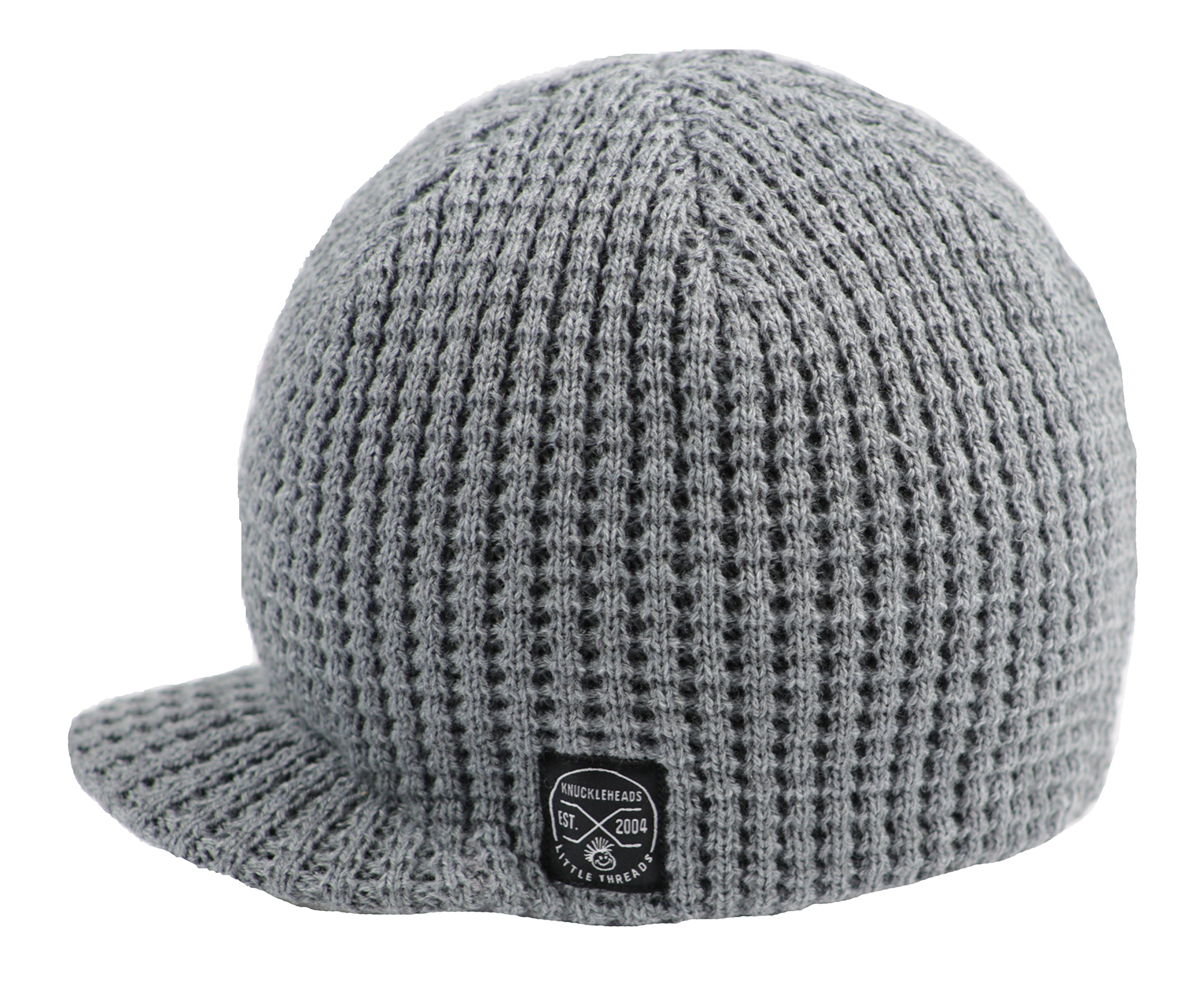 Born to Love Baby Boy's Stripe Visor Beanie With Tag Baby Hat (SM (1-2 Years), Grey Waffle)