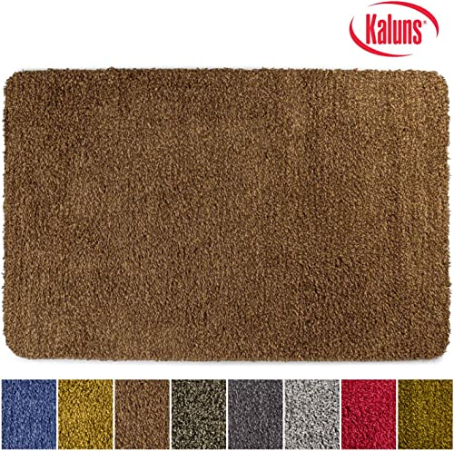 Kaluns Door Mat, Front Doormat, Super Absorbent Mud Mats, Doormats for Entrance Way, Entry Rug, Non Slip PVC Waterproof Backing, Shoe Mat for Entryway, Machine Washable 3 x6 Large, Brown