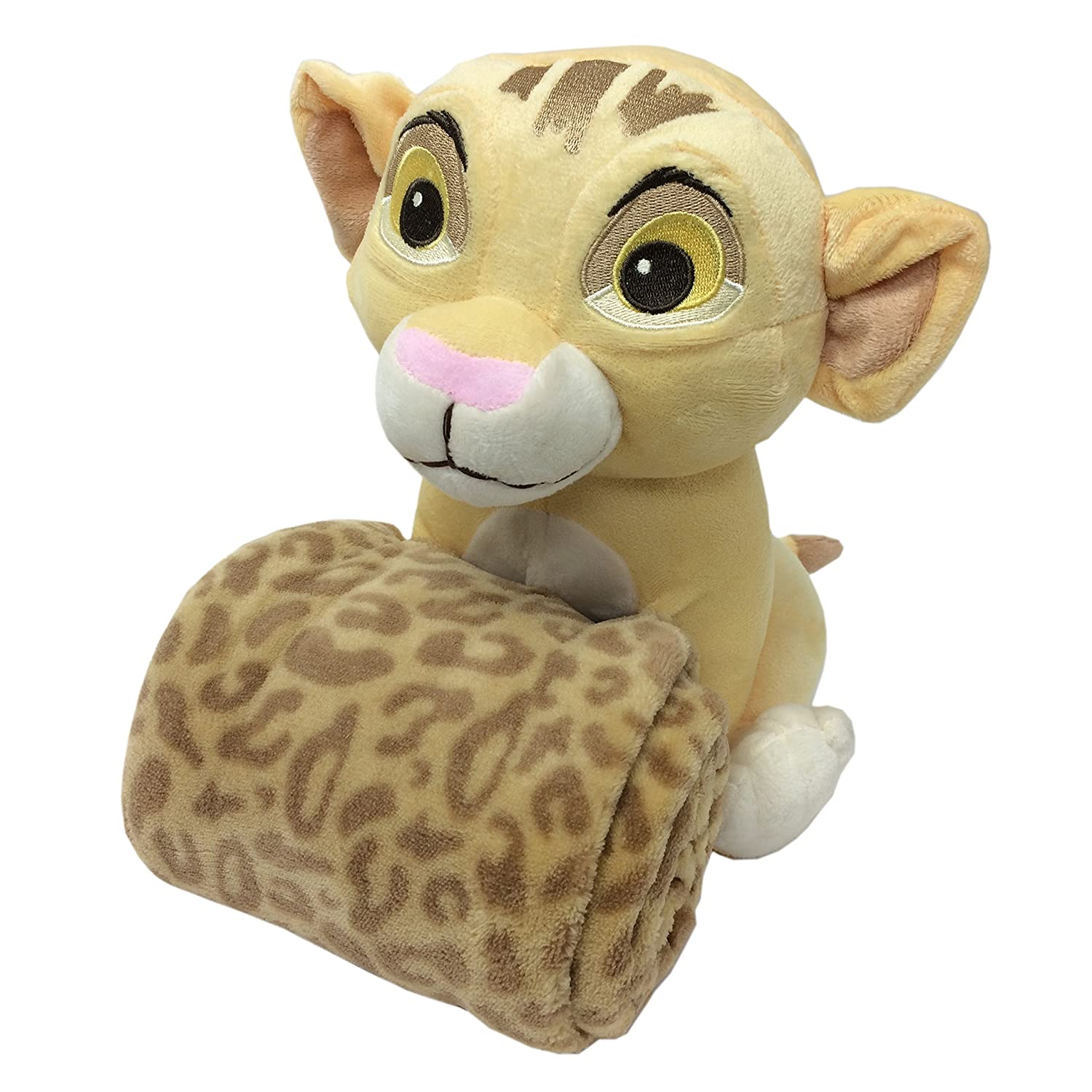 Disney Lion King Simba's Wild Adventure Super Soft Plush and Blanket Gift Set, Ivory, Brown, Butter Crown Crafts Inc 6804833