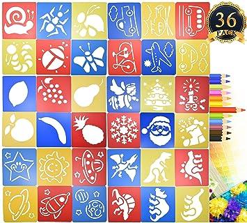 36 Pcs Malen Schablone Kunststoff Zeichnen Sprühen Vorlagen Für