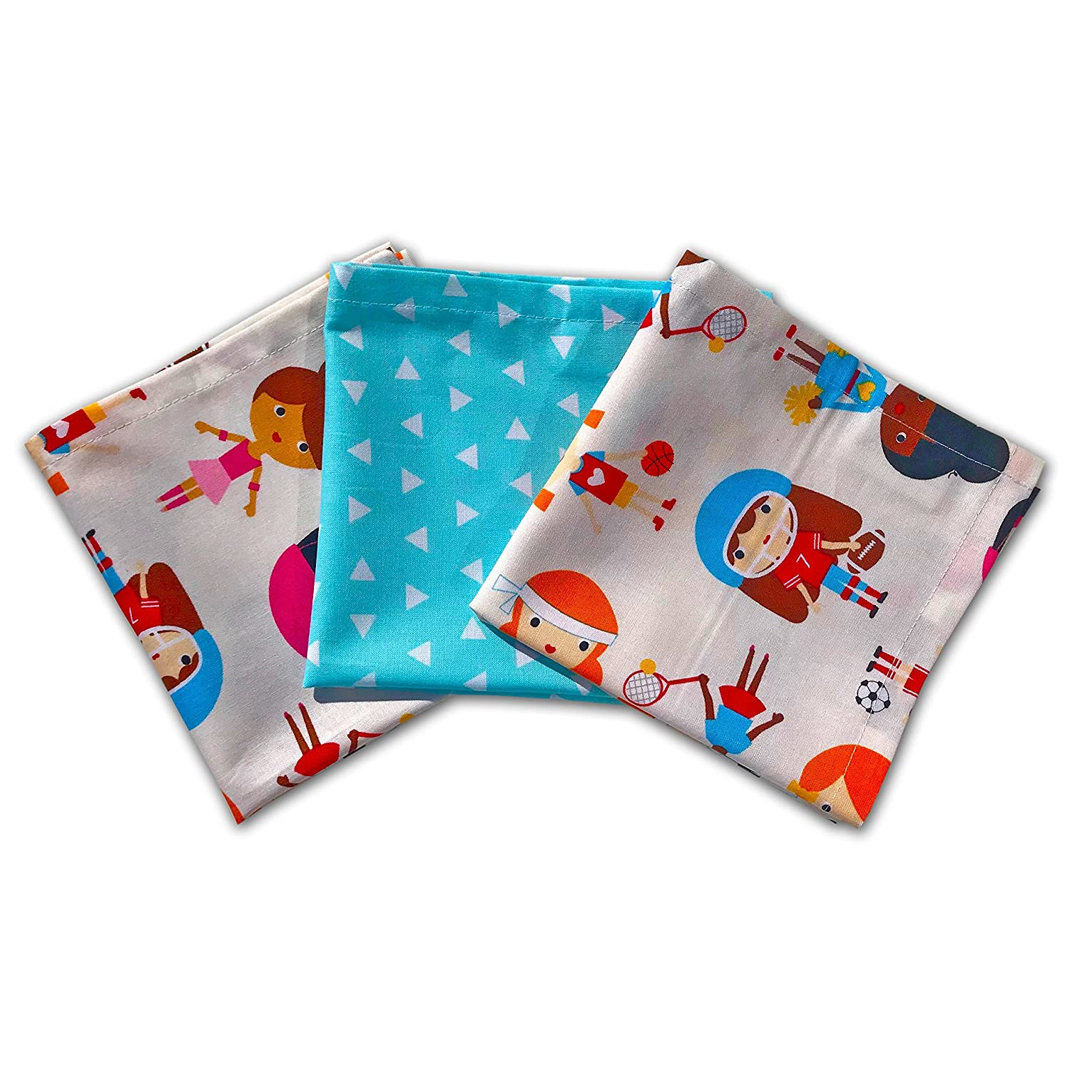 FUNKINS Reusable Cotton Cloth Napkins for Kids, 12x12 Soft Cotton Napkins, Set of 3, SPORTY GIRLS MyFunkins Ltd.