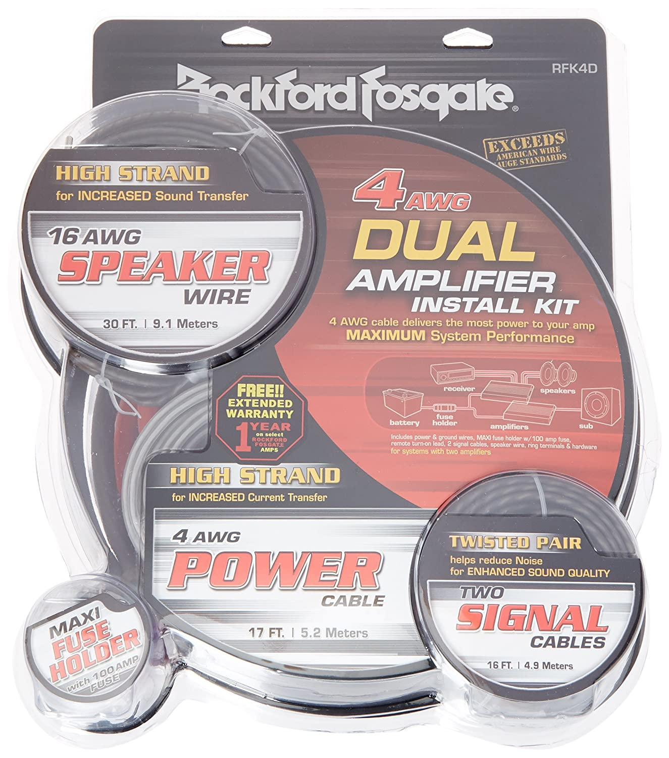 Rockford Fosgate Rfk1d Dual Amp Complete Kit Car New 4 Gauge Power Amplifier 1200 Watt Install Wiring Electronics