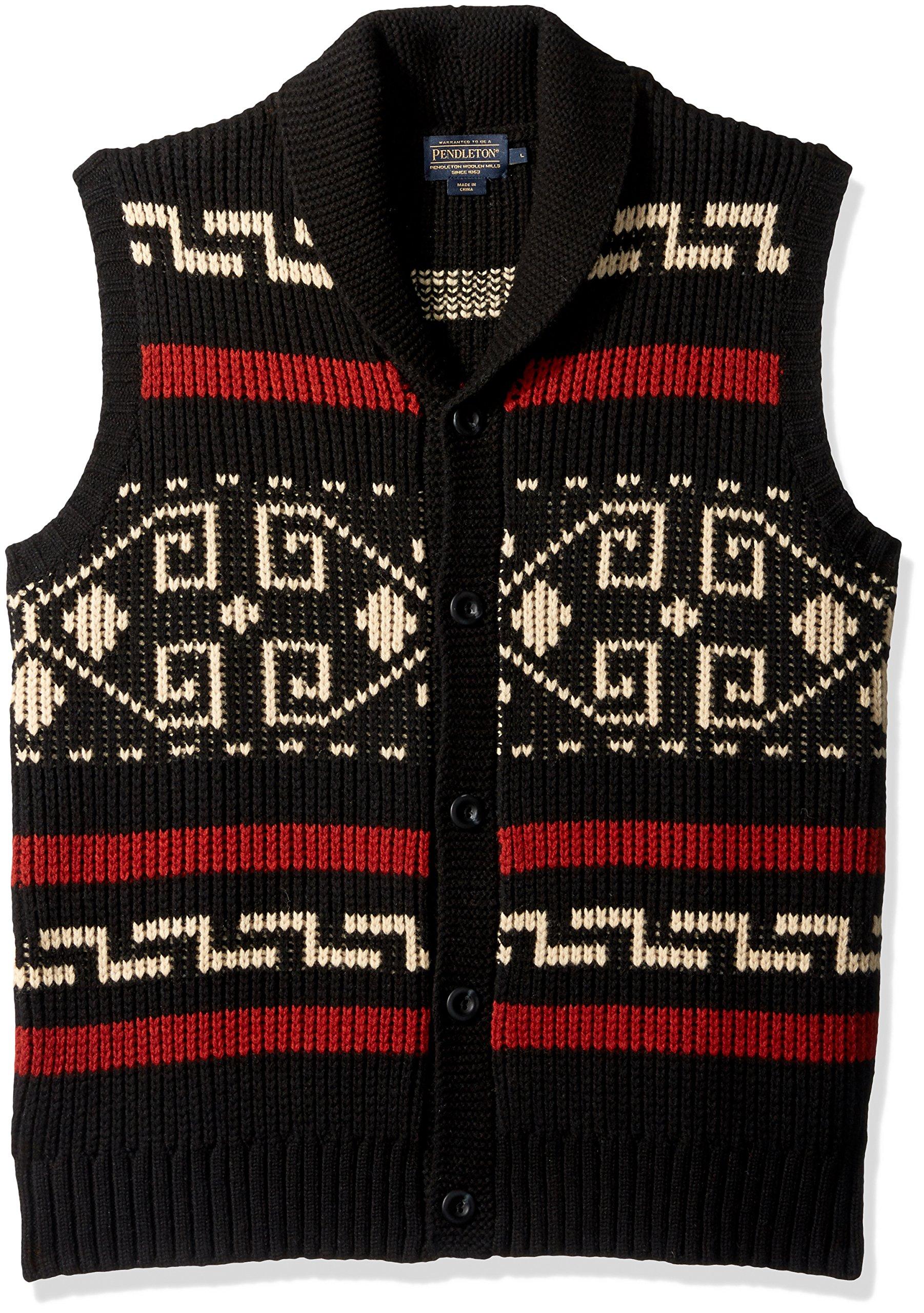 Pendleton Men's Westerley Sweater Vest, Black/Cream-61162, XS